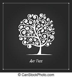 twój, tło, czarnoskóry, projektować, sztuka, drzewo