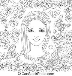twój, włosy, piękny, młody, kwiat, długi, ogród, kobieta