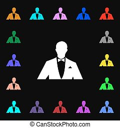 twój, wektor, sylwetka, symbolika, poznaczcie., losy, ikona, handlowiec, barwny, design., garnitur