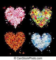 twój, wiosna, winter., pory, -, jesień, lato, sztuka, serca, cztery, projektować, piękny
