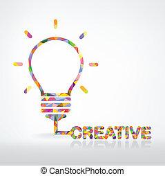 twórczy, bulwa, lekki, idea, pojęcie