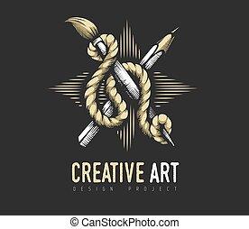 twórczy, rope., emblemat, heraldyczny, ołówek, concept., szczotka, sztuka