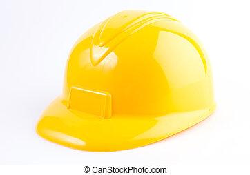 twardy, odizolowany, żółte tło, biały kapelusz