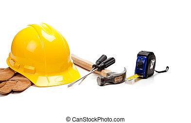 twardy, rękawiczki, kapelusz, tło, biały, narzędzia