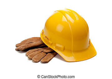 twardy, skóra, praca, żółty, rękawiczki, biały kapelusz