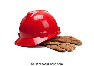 twardy, skóra, pracować rękawiczki, biały kapelusz, czerwony