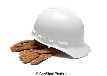 twardy, skóra, pracować rękawiczki, biały kapelusz