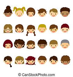 twarz, dzieciaki, komplet, ikony