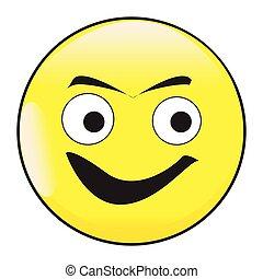 twarz, emoticon, uśmiech, guzik, wielkie wejrzenie