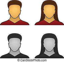 twarz, wektor, samiec, samica, ikony