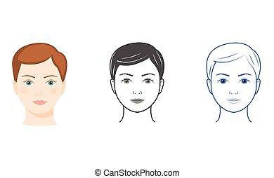 twarze, kobiety, trzy