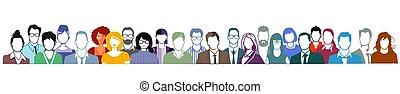 twarze, portret, biały, grupa, background..eps, ludzie