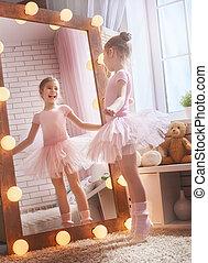 twarzowy, dziewczyna, balerina, śni