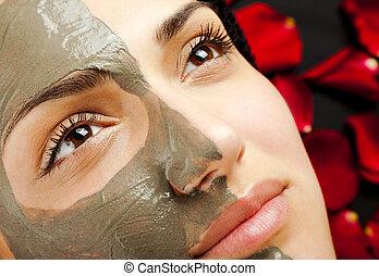 twarzowy, glina, maska, samica