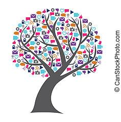 tworzenie sieci, ikony, media, drzewo, towarzyski, technologia, wypełniony