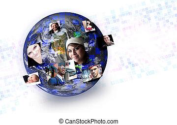 tworzenie sieci, ludzie, media, globalny, stosunek, towarzyski