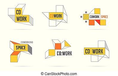 tworzenie sieci, pas, ikony, collection., przestrzeń, coworking, logo