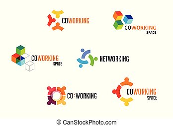 tworzenie sieci, pas, ikony, collection., przestrzeń, coworking, wektor, projektować, logo