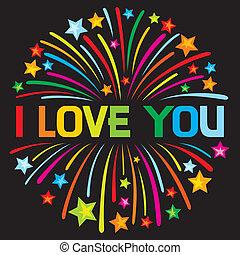 ty, fajerwerk, miłość