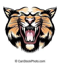 tygrys formują główki, ryk