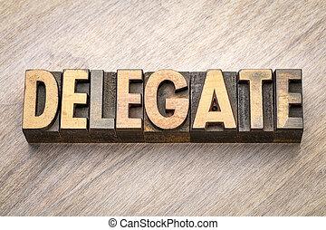 typ, abstrakcyjny, drewno, słowo, delegat