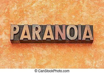 typ, abstrakcyjny, drewno, słowo, paranoja