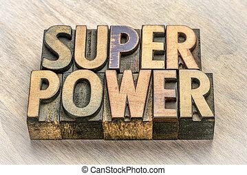 typ, abstrakcyjny, drewno, słowo, superpower