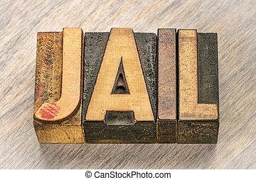 typ, drewno, słowo, więzienie