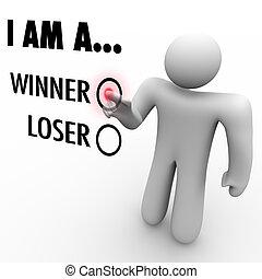 typować, będzie, powieść się, ty, ściana, jego, on, słowo, loser?, dotyk, człowiek, chooses, jaźń, wiara, symbolizować, ekran, zwycięzca, albo, może, zaufanie