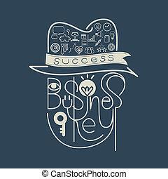 tytuł, klucz, powodzenie, ikona, handlowe pojęcie