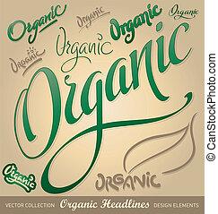 tytuł, komplet, organiczny, (vector), ręka