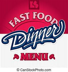 tytuł, obiad, (vector), ręka