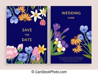 ułożyć, rocznik wina, flowers., karta, powitanie, projektować, ślub, wektor, elegancki, szablon, zaproszenie, illustration., próbka, kwiatowy