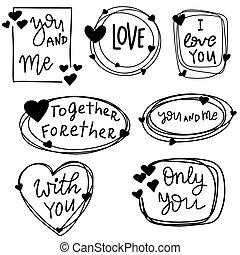 ułożyć, wektor, tło, serca, doodles.