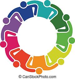 uścisk, grupa, ludzie, teamwork, 9, logo