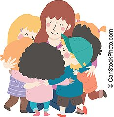 uścisk, grupa, nauczyciel, ilustracja, dzieciaki