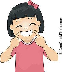 uśmiech, dziewczyna, gesturing