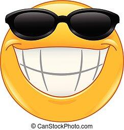 uśmiech, emoticon, sunglasses, cielna