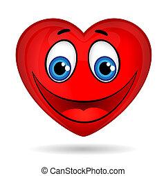 uśmiech, serce, oczy, czerwony, zabawny