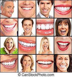 uśmiech, szczęśliwy, ludzie