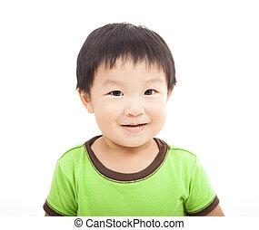 uśmiechanie się, biały, odizolowany, koźlę, asian