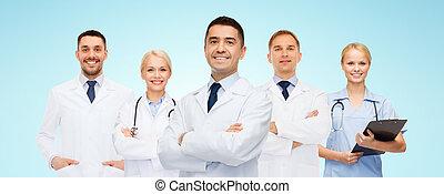 uśmiechanie się, clipboard, grupa, leczy