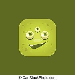 uśmiechanie się, emoji, zielony potwór, ikona