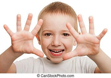 uśmiechanie się, gesturing, dziecko