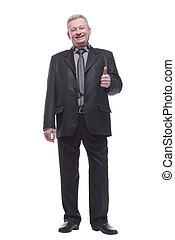 uśmiechanie się, handlowy, szczęśliwy, człowiek, kciuki do góry