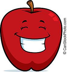 uśmiechanie się, jabłko