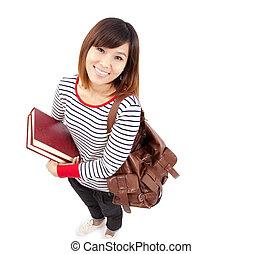 uśmiechanie się, kolegium, młody, student, asian