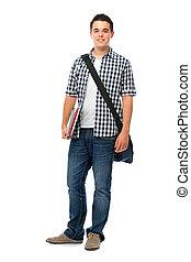uśmiechanie się, nastolatek, schoolbag