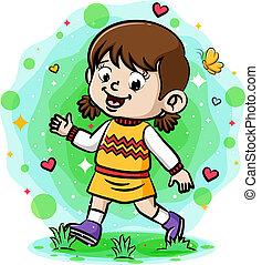 uśmiechanie się, ogród, pieszy, dziewczyna