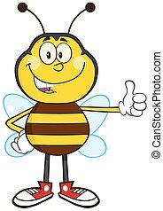 uśmiechanie się, pszczoła, pokaz, do góry, kciuk